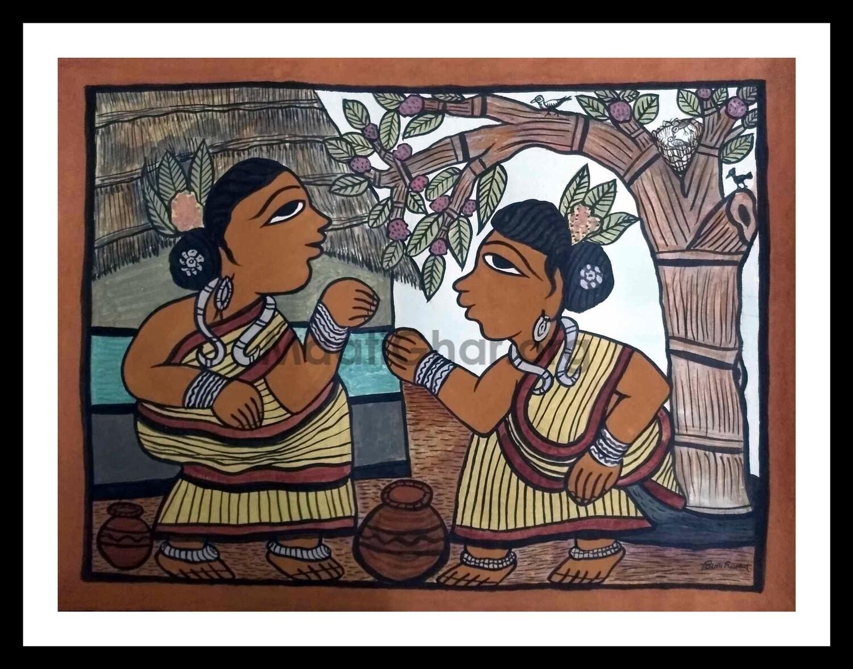 Paitkar Painting - Conversation (30x22 in)