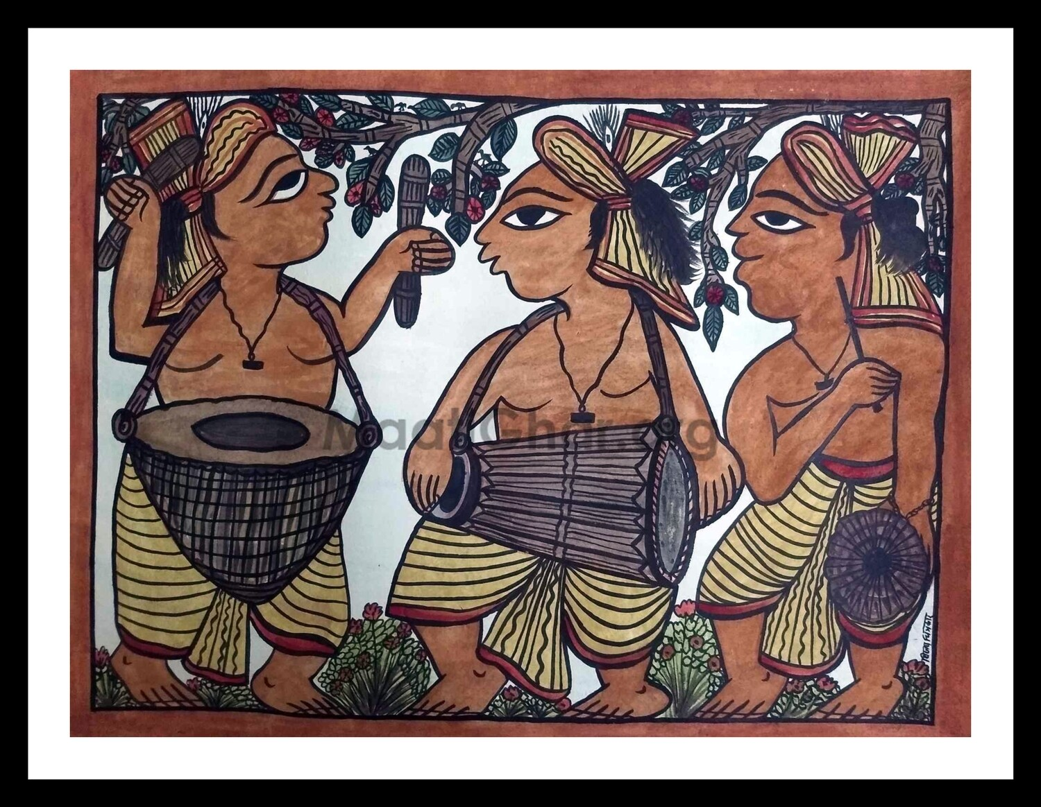 Paitkar Painting - Men with Instruments (30x22 in)