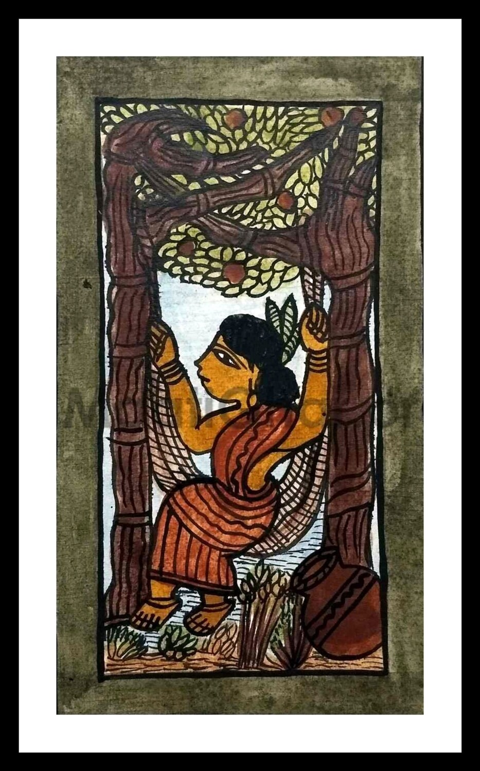 Paitkar Painting - Swinging in Nature (10x6 in)