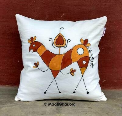 Sohrai Painting Cotton Cushion Cover - Pashupati Horse (16 in x 16 in)