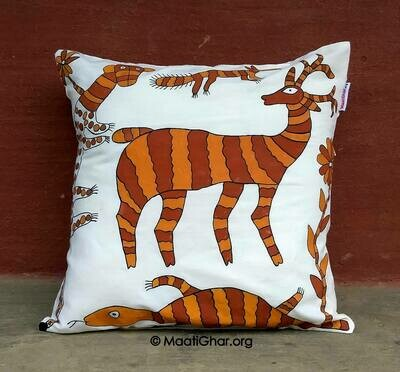 Sohrai Painting Cotton Cushion Cover - Saheda Village Animals (16 in x16 in)