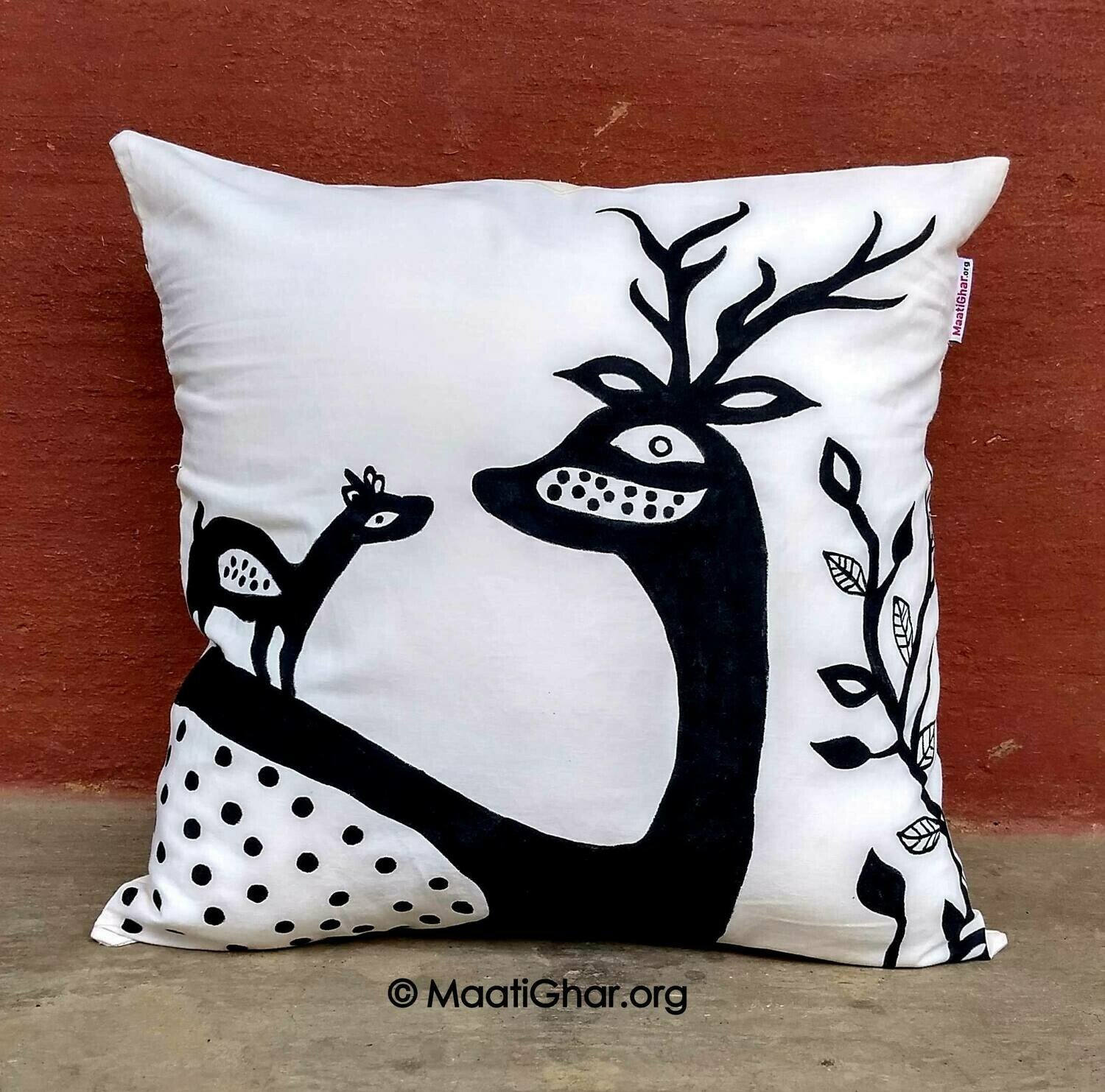 Khovar Painting Cotton Cushion Cover - Jorakath Village Deer (16 in x 16 in)