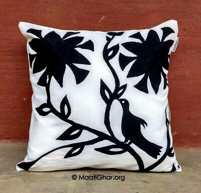 Khovar Painting Cotton Cushion Cover - Kharanti Village Flowers (16 in x 16 in)