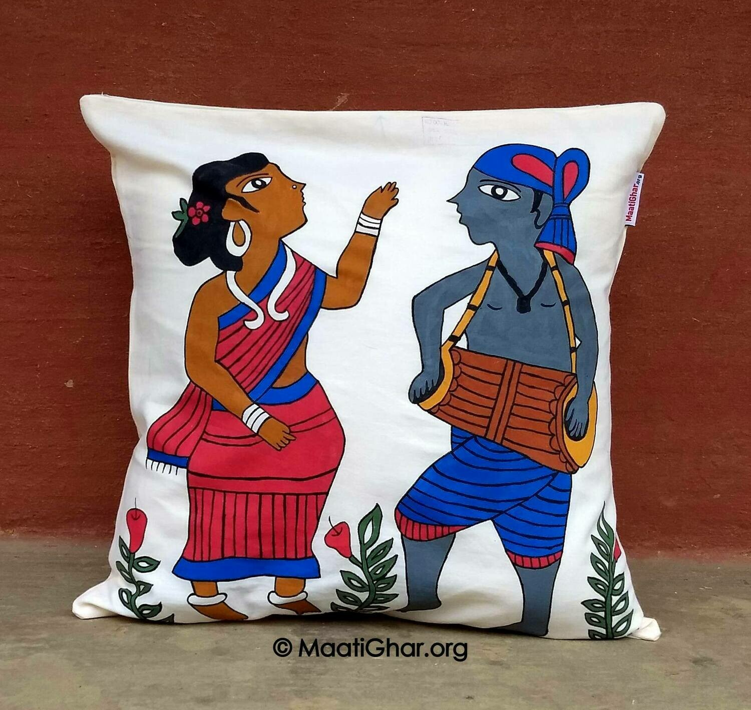 Paitkar Painting Cotton Cushion Cover - Celebration (16 in x 16 in)