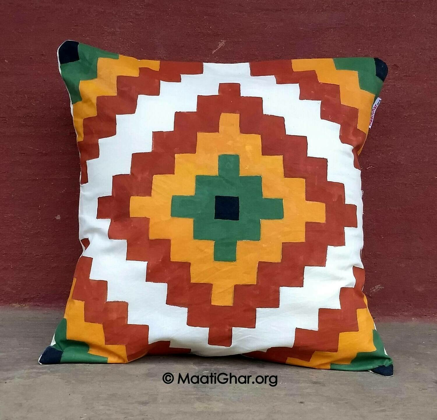Sohrai Painting Cotton Cushion Cover - Santhal Village Abstract Shape (16 in x 16 in)