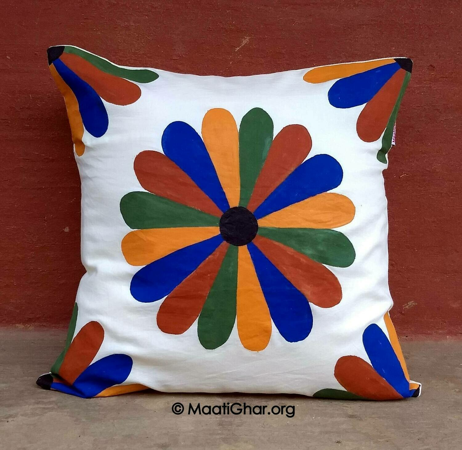 Sohrai Painting Cotton Cushion Cover - Santhal Village Flower (16 in x 16 in)
