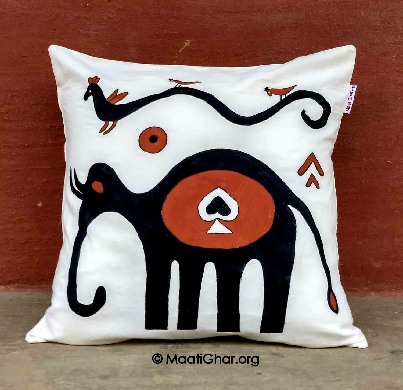 Sohrai Painting Cotton Cushion Cover - Oreya Village Elephant (16 in x 16 in)