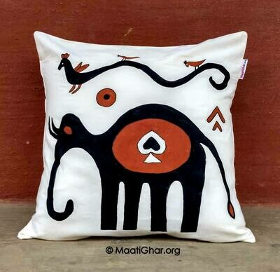 Sohrai Painting Cotton Cushion Cover - Oreya Village Elephant (16 in x 16 in)