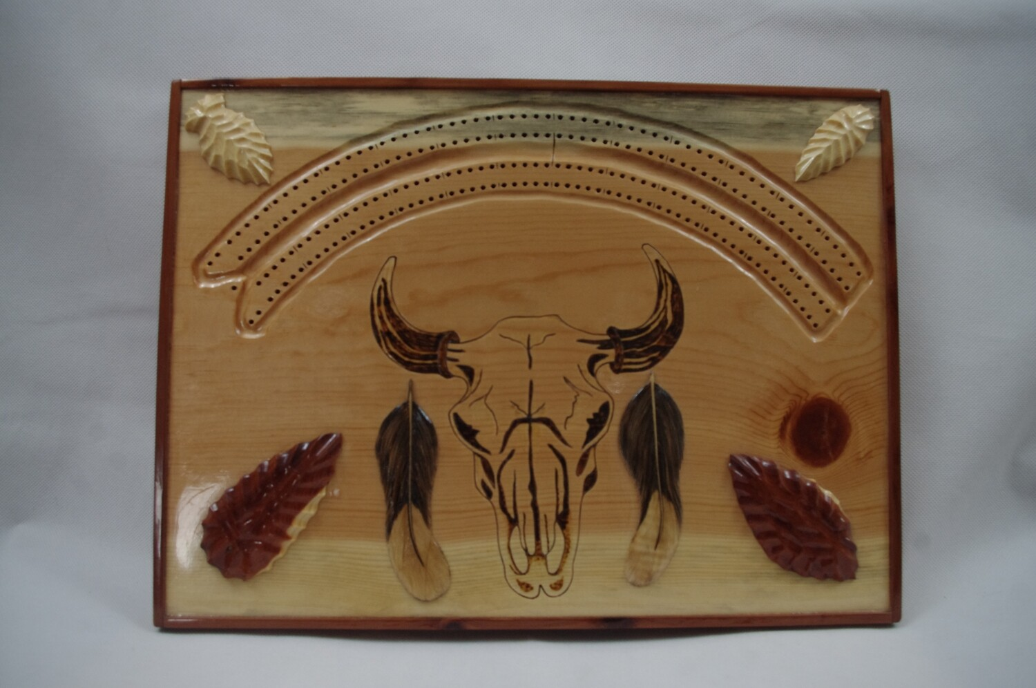 Buffalo Skull Cribbage Board