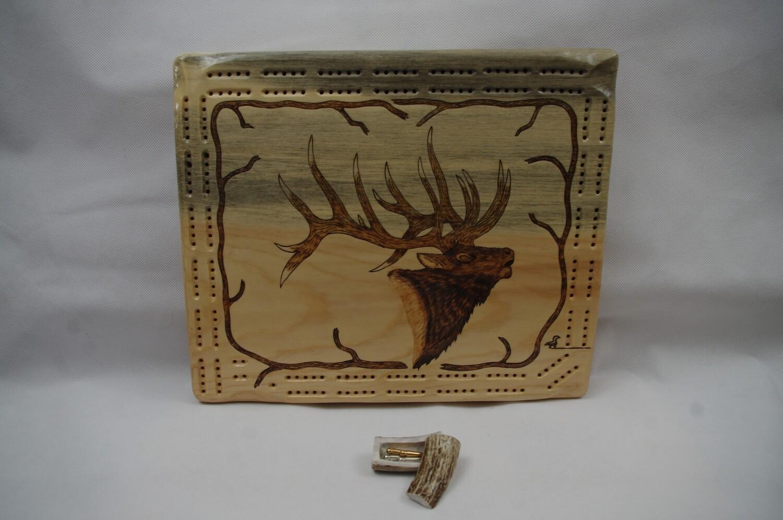 Bull Elk Cribbage Board