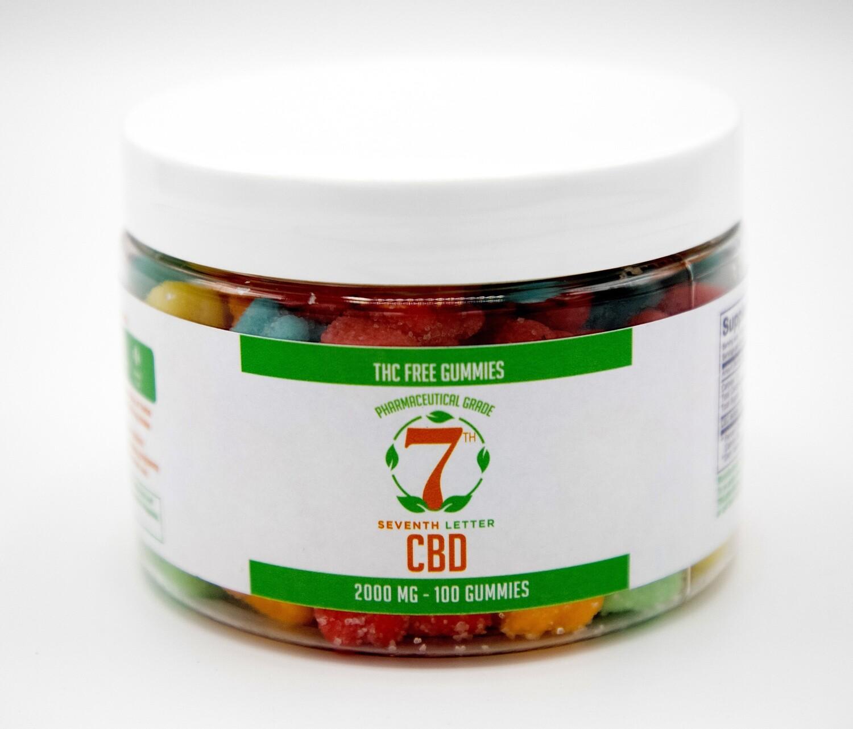 7th Letter THC Free Gummies 2000mg (100ct)