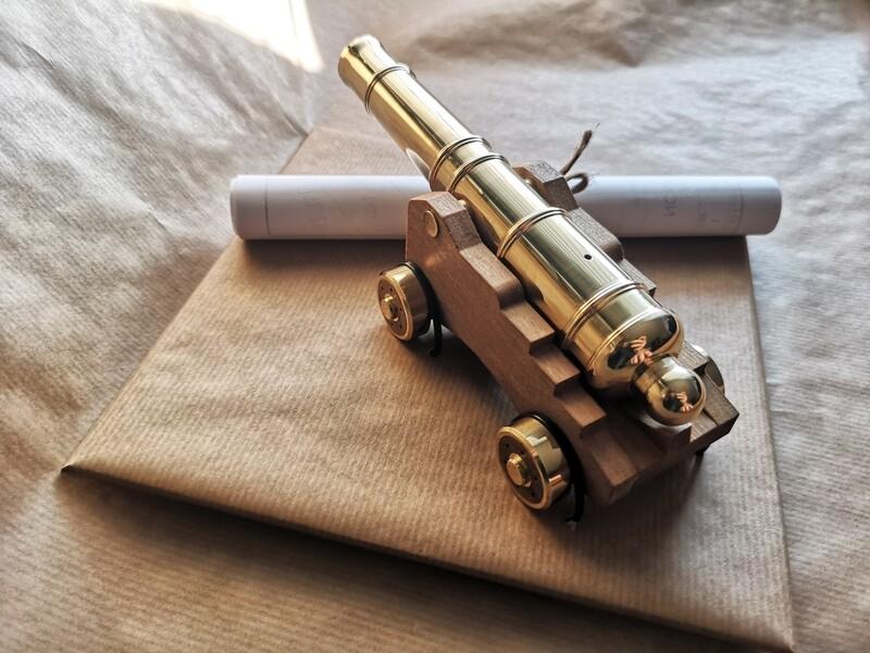 Naval cannon replica 3D STEP + 2D blueprints technical documentation