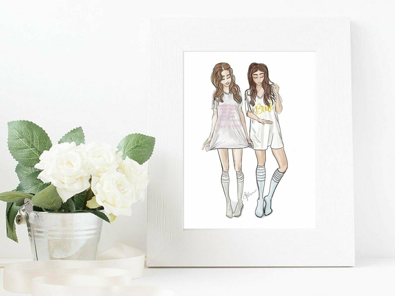 Bride & Maid of Honor Fashion Illustration Gift