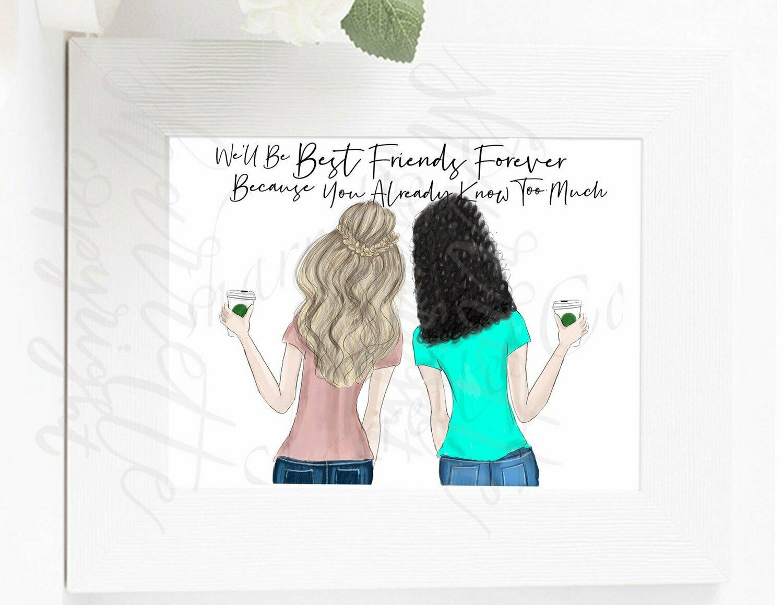 Custom best friend bff illustration