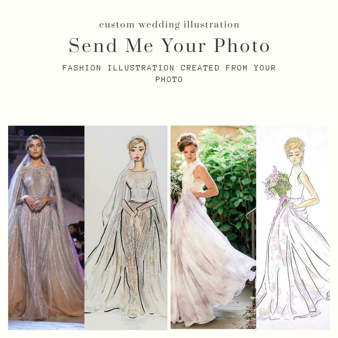 Custom Wedding Bridal Fashion Illustration