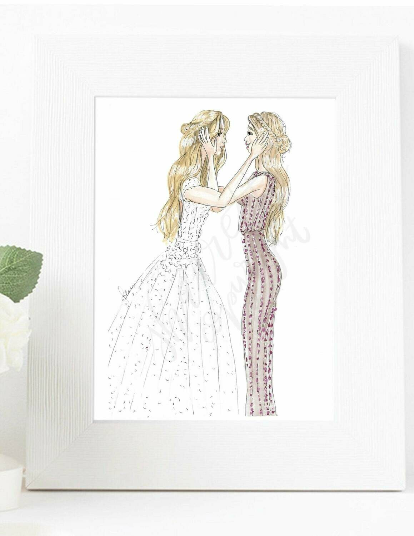Customizable Bride and Bridesmaid Fashion Illustration