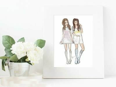 Bride & Maid of Honor Fashion Illustration Gift