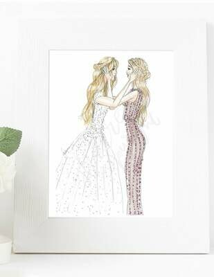 Customizable Bride and Bridesmaid Fashion Illustration