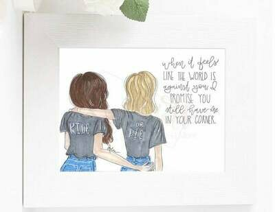 Ride or Die Best Friend Customizable Fashion Illustration Gift