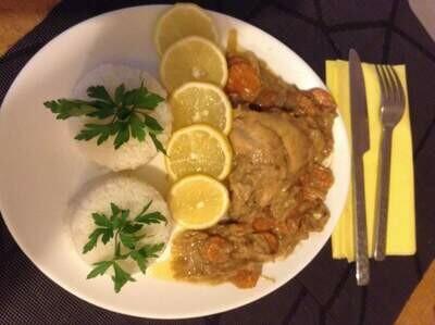 Poulet Yassa + riz blanc