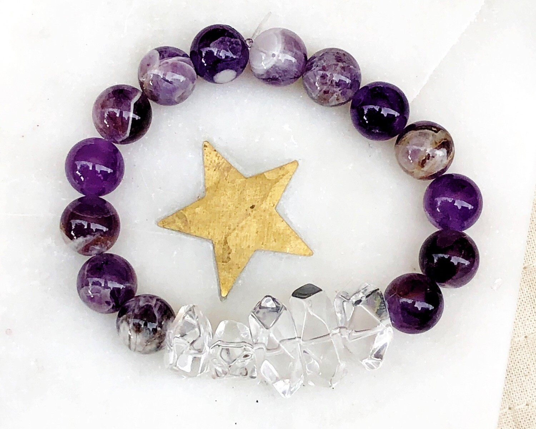 Artemis | Chevron Amethyst and Crystal Quartz Nugget Mala Bead Bracelet