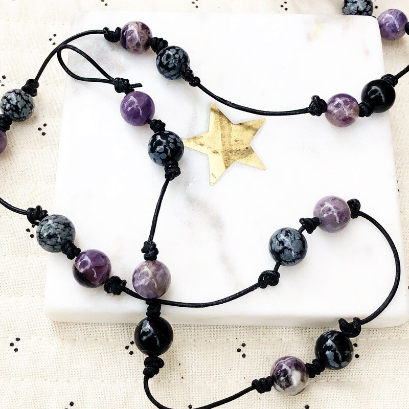 Amethyst and Snowflake Obsidian Leather Knotted Lariat Convertible Wrap Bracelet