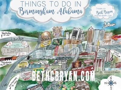 Birmingham, Alabama Cartoon Map