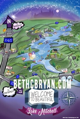 Lake Mitchell Whimsical Cartoon Map (DIGITAL FILE ONLY)