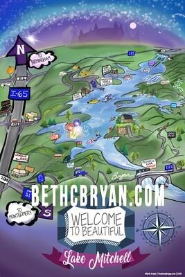 Lake Mitchell Whimsical Cartoon Map