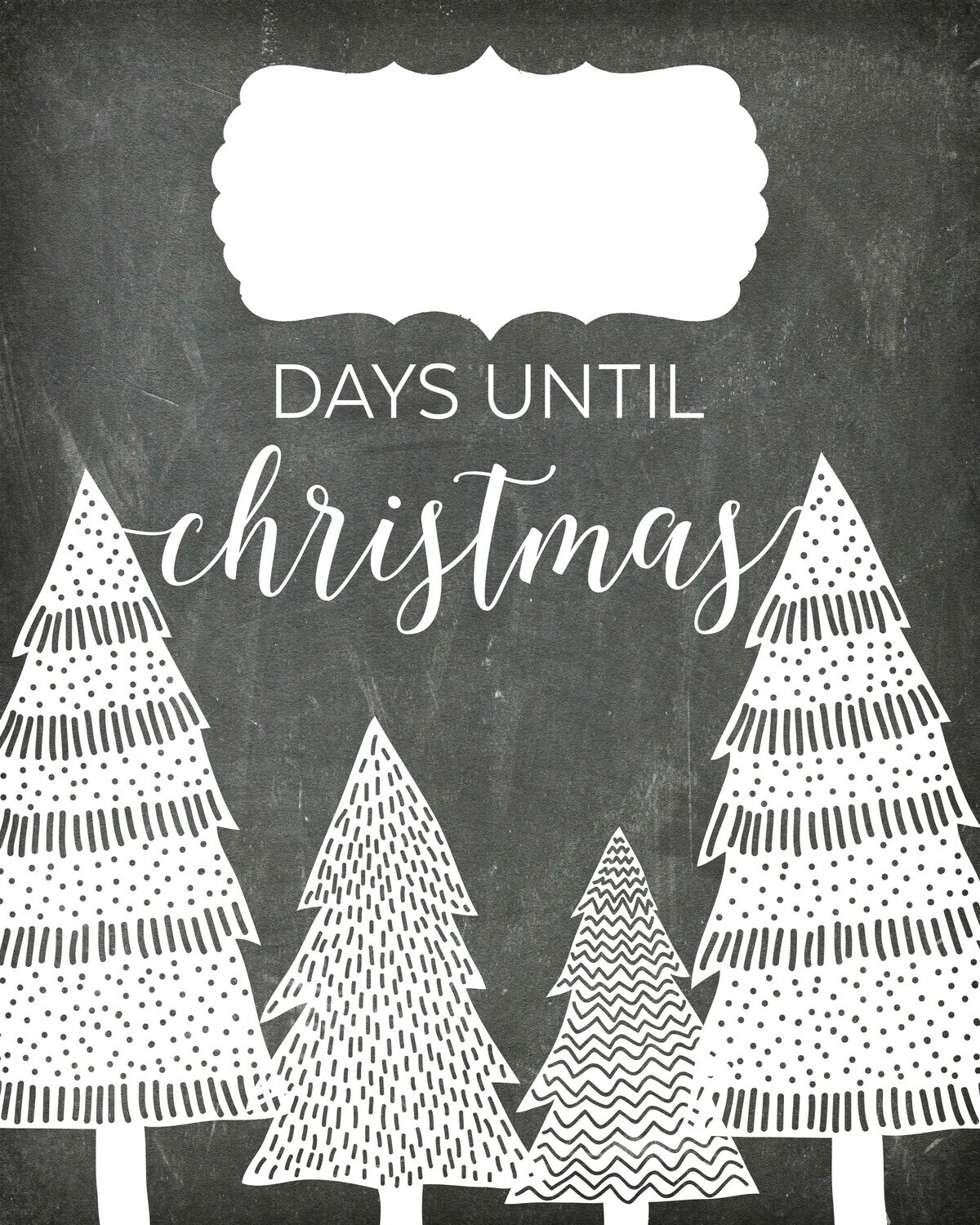 "Countdown ""Days Until Christmas"" Free Chalkboard Printable"