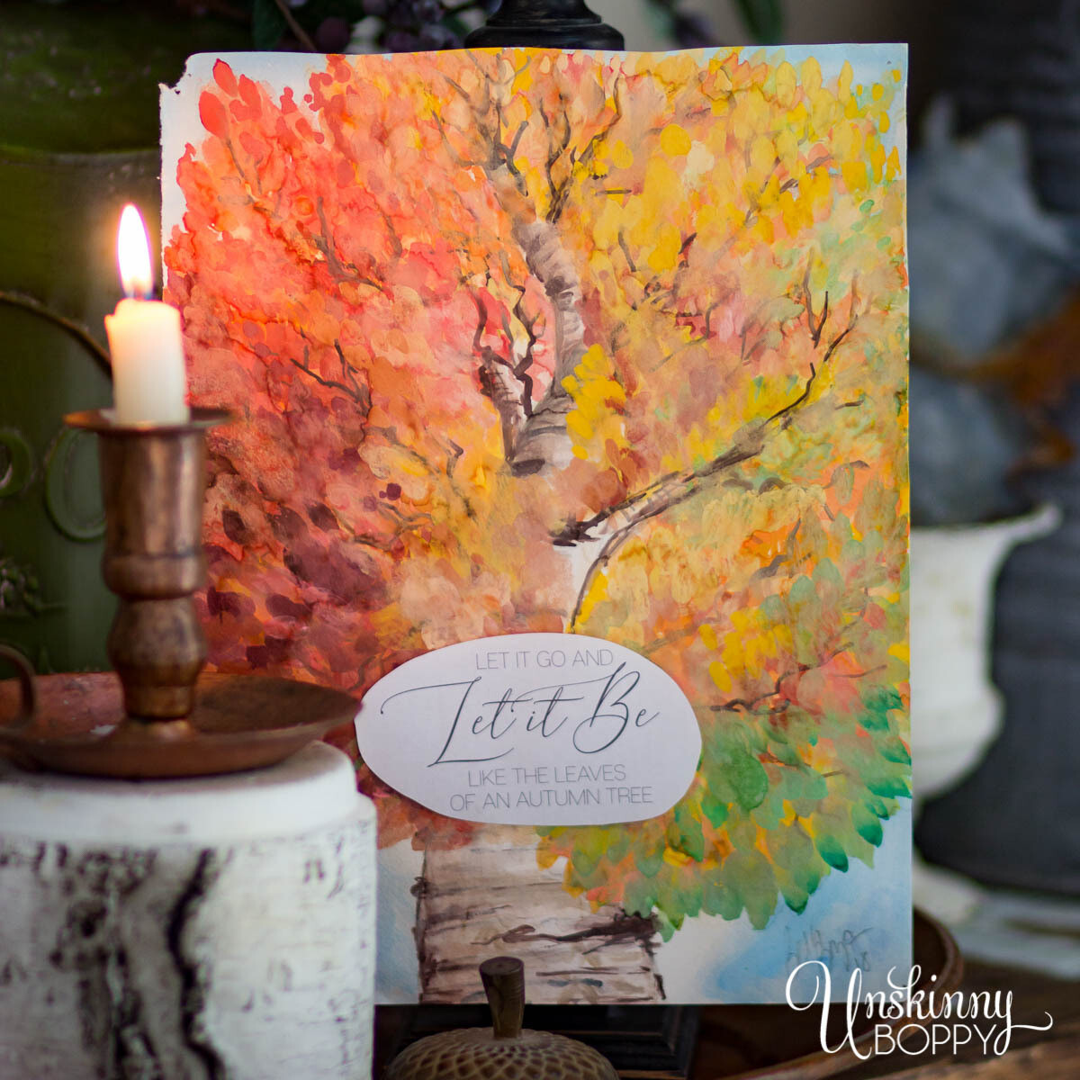Let it Be Autumn Tree Watercolor Fall Printable