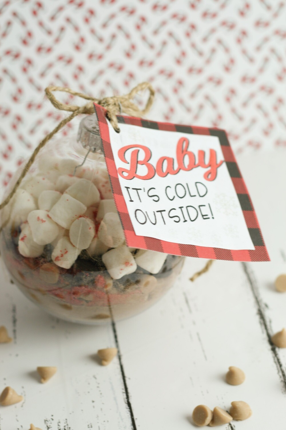 """Baby it's Cold Outside"" Hot Chocolate Christmas Ornament Tag"