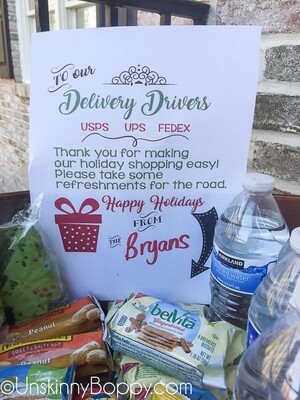 Delivery Driver Porch Snacks for Christmas Packages