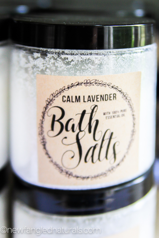 Lavender Bath Salts Labels for Essential Oil Gifts