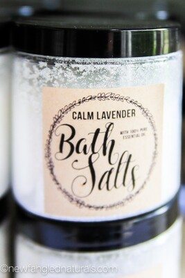 Lavender Bath Salts Labels for Essential Oil Gifts
