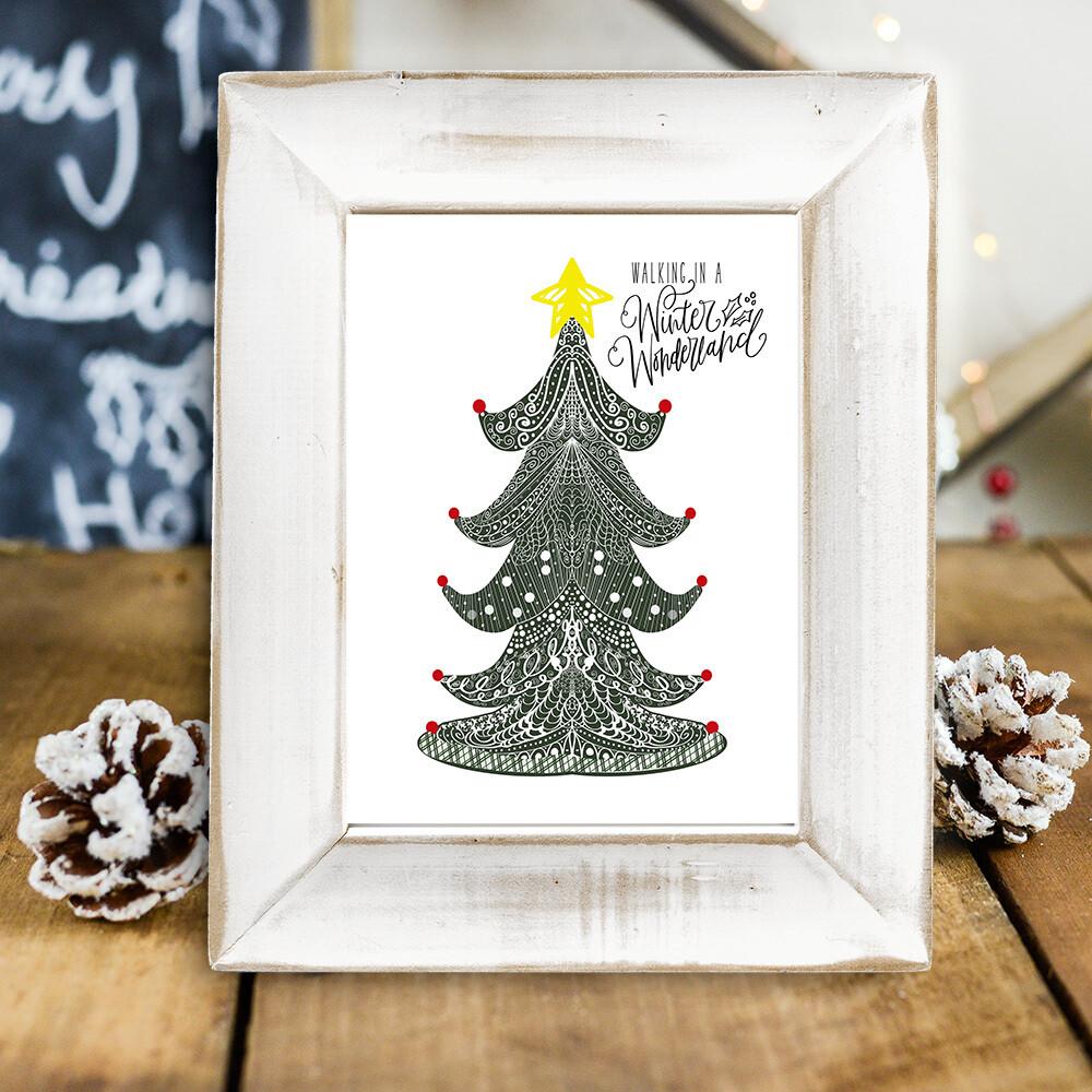 Walking in a Winter Wonderland Free Christmas Tree Printable
