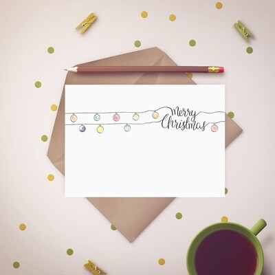 Merry Christmas in String Lights Free Printable Card