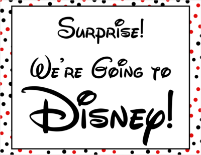 Disney World Surprise Announcement Sign with Countdown and Fake