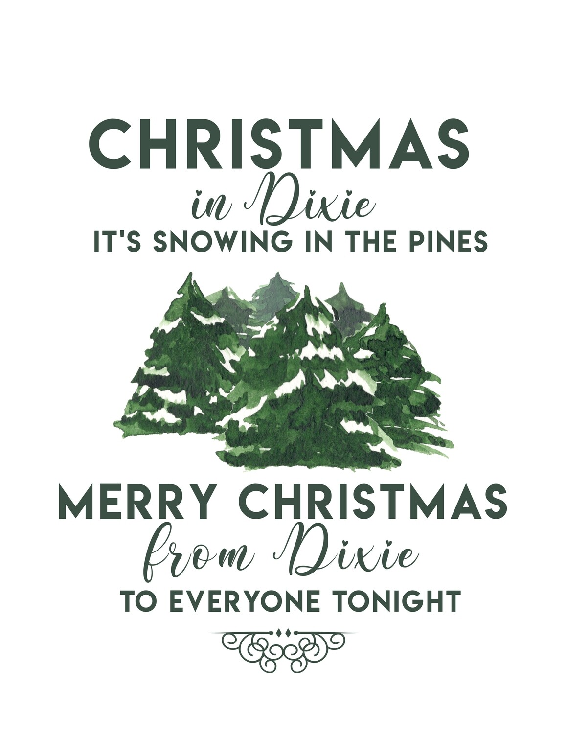 Christmas in Dixie Snowy Pines Printable