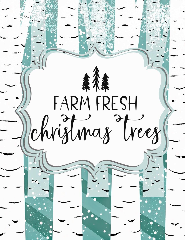 Farm Fresh Christmas Trees- Aqua Blue and White Birch