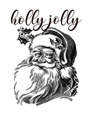 Holly Jolly Black and White Santa Free Printable