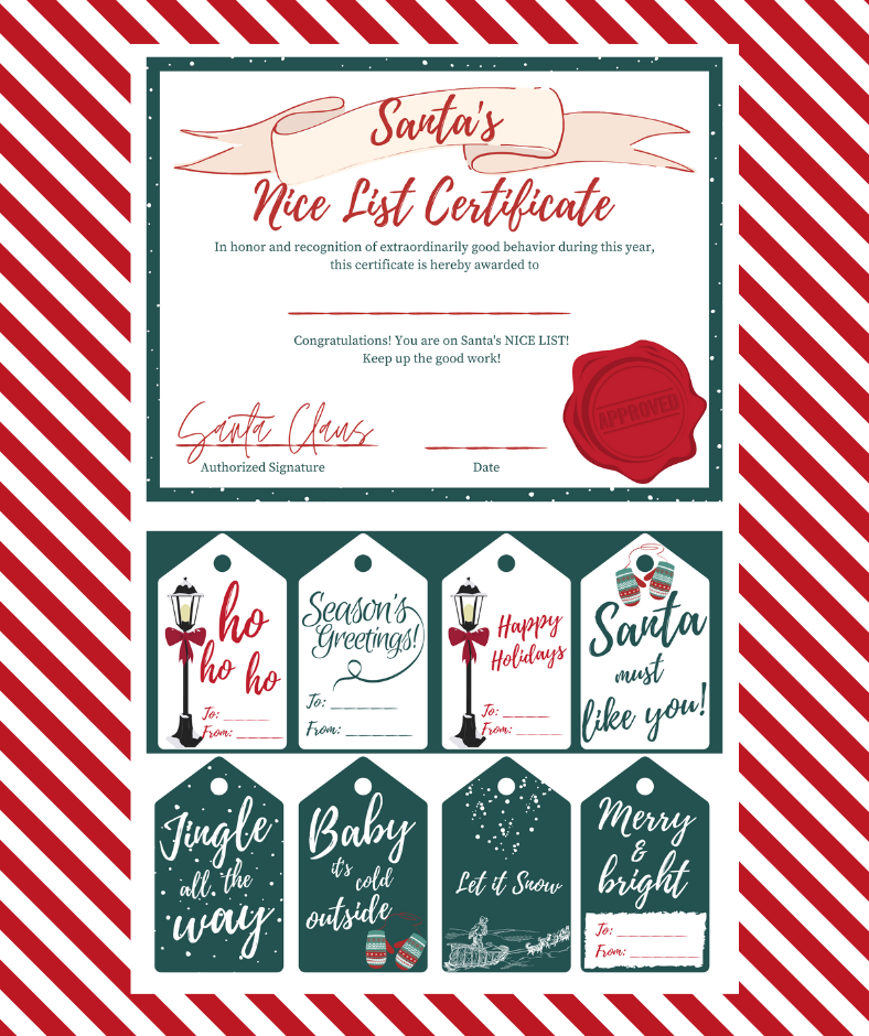 Santa's Nice List Certificate and Gift Tags Free Printables