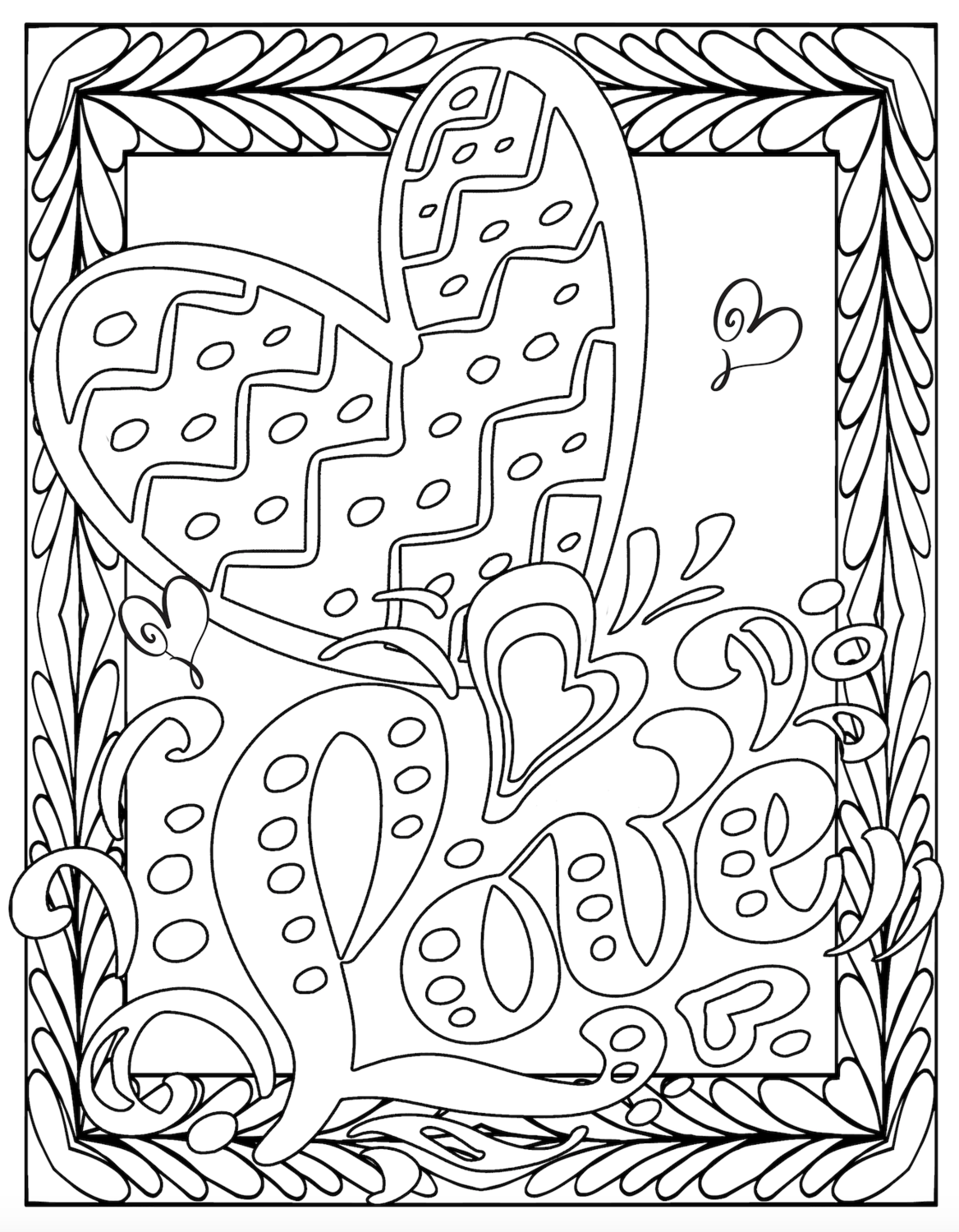 Valentine's Free Printable Love Coloring Pages - Pretty ...