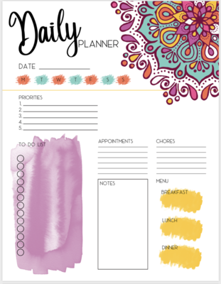 BEAUTIFUL Watercolor Mandala Daily~Weekly~Monthly Planner with To Do List + Notes