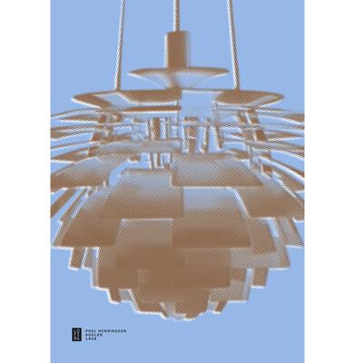 Large 70x100cm 'Artichoke' Poster Poul Henningsen - Blue