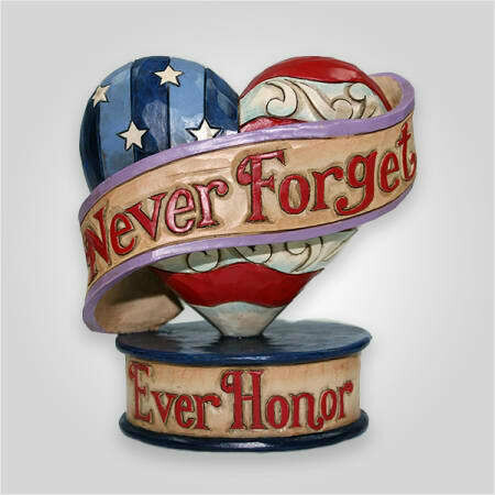 Jim Shore Remembrance Flag Heart Figurine