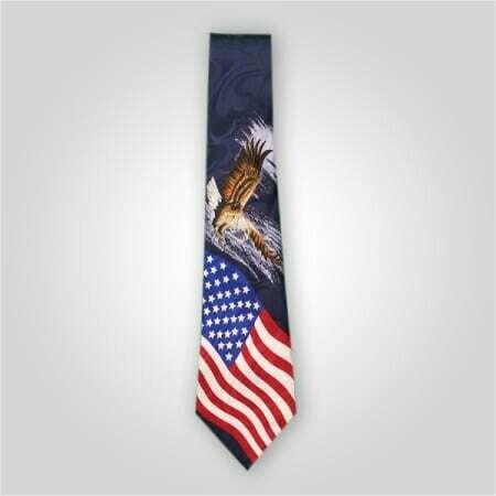 Patriotic Eagle Over Flag Neck Tie