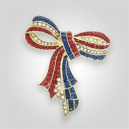 Americana Ribbon Crystal Pin