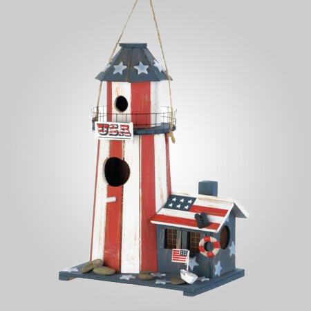 Patriotic Lighthouse Birdhouse