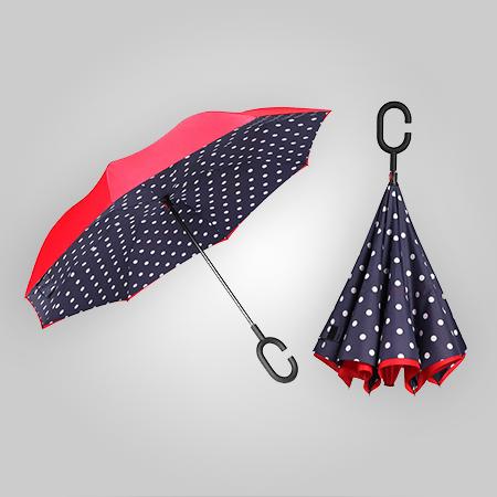 Polka-Dot Inverted Umbrella